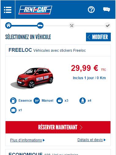 screenshot Rent A Car application smartphone