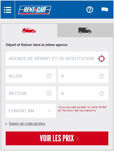 screenshot Rent A Car application mobile